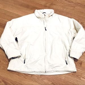 Lands End Winter White Quilted Coat Size XL